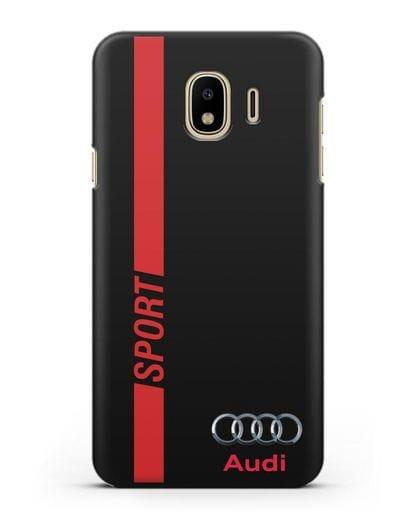 Чехол с надписью Audi Sport силикон черный для Samsung Galaxy J4 2018 [SM-J400F]