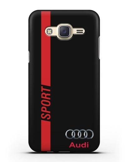 Чехол с надписью Audi Sport силикон черный для Samsung Galaxy J7 2015 [SM-J700H]