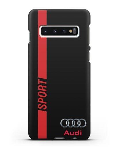 Чехол с надписью Audi Sport силикон черный для Samsung Galaxy S10 Plus [SM-G975F]