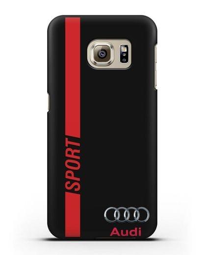 Чехол с надписью Audi Sport силикон черный для Samsung Galaxy S6 Edge [SM-G925F]