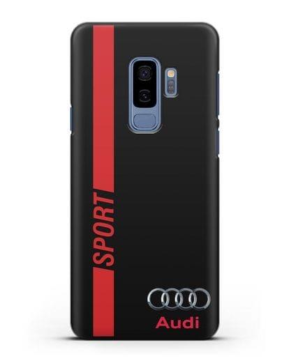 Чехол с надписью Audi Sport силикон черный для Samsung Galaxy S9 Plus [SM-G965F]