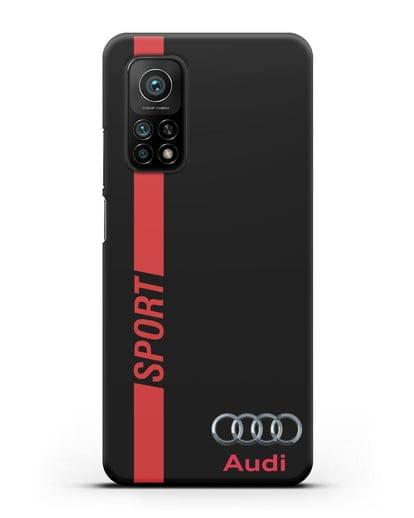 Чехол с надписью Audi Sport силикон черный для Xiaomi Mi 10T
