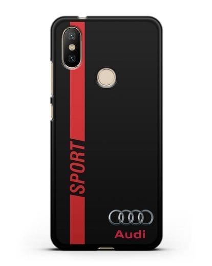 Чехол с надписью Audi Sport силикон черный для Xiaomi Mi 6X