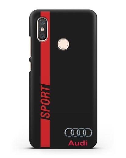 Чехол с надписью Audi Sport силикон черный для Xiaomi Mi 8