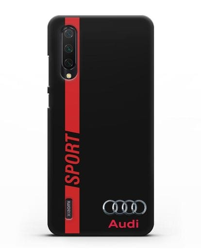 Чехол с надписью Audi Sport силикон черный для Xiaomi Mi 9 Lite