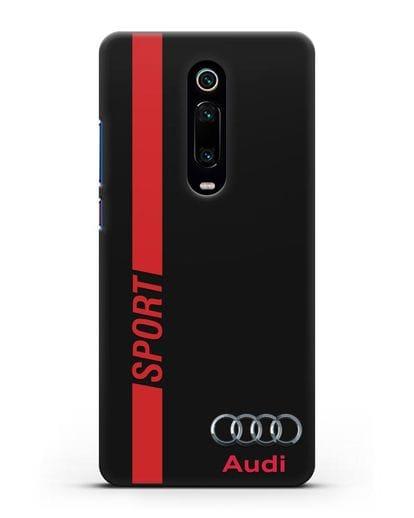 Чехол с надписью Audi Sport силикон черный для Xiaomi Mi 9T