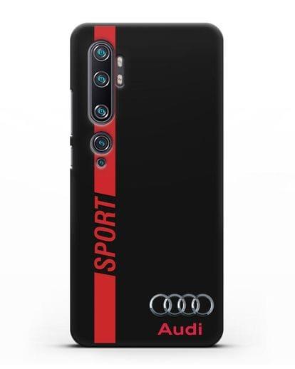 Чехол с надписью Audi Sport силикон черный для Xiaomi Mi Note 10 Pro