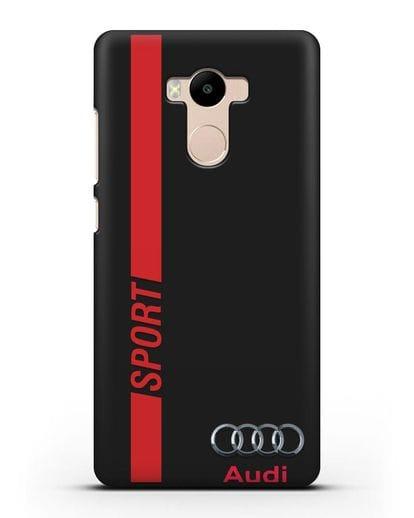 Чехол с надписью Audi Sport силикон черный для Xiaomi Redmi 4 Pro