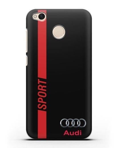 Чехол с надписью Audi Sport силикон черный для Xiaomi Redmi 4X