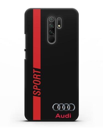 Чехол с надписью Audi Sport силикон черный для Xiaomi Redmi 9