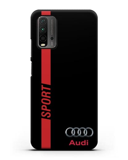 Чехол с надписью Audi Sport силикон черный для Xiaomi Redmi 9 Power
