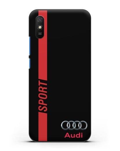 Чехол с надписью Audi Sport силикон черный для Xiaomi Redmi 9A
