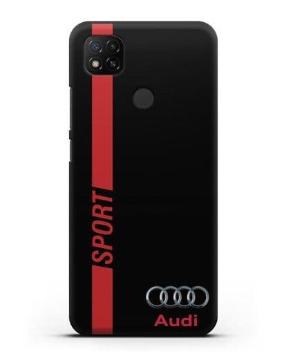 Чехол с надписью Audi Sport силикон черный для Xiaomi Redmi 9С