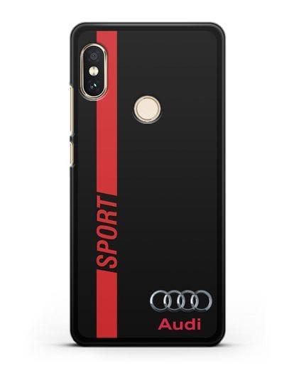 Чехол с надписью Audi Sport силикон черный для Xiaomi Redmi Note 5