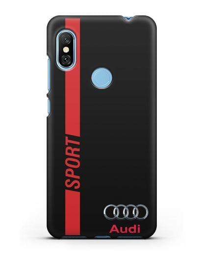 Чехол с надписью Audi Sport силикон черный для Xiaomi Redmi Note 6 Pro