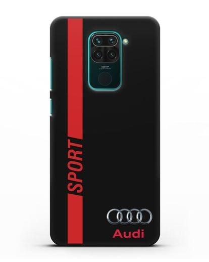 Чехол с надписью Audi Sport силикон черный для Xiaomi Redmi Note 9