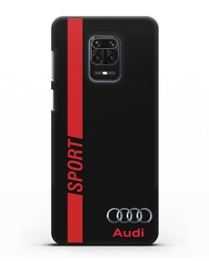 Чехол с надписью Audi Sport силикон черный для Xiaomi Redmi Note 9 Pro