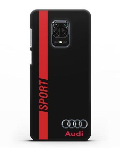 Чехол с надписью Audi Sport силикон черный для Xiaomi Redmi Note 9S