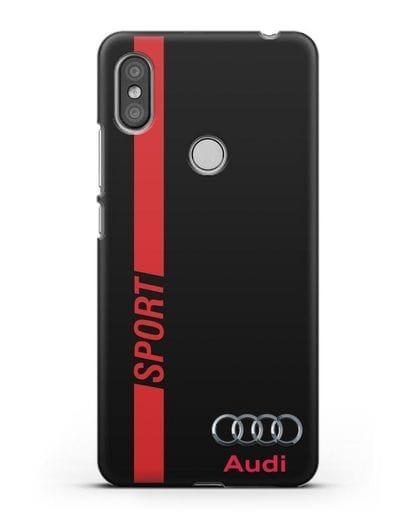 Чехол с надписью Audi Sport силикон черный для Xiaomi Redmi S2