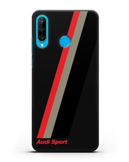 Чехол с логотипом Ауди Спорт силикон черный для Huawei P30 Lite