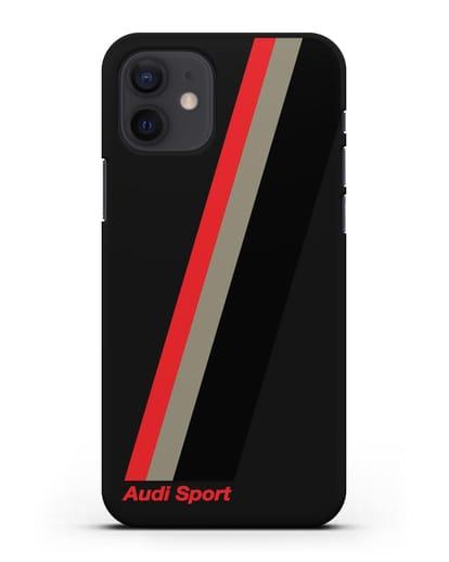 Чехол с логотипом Ауди Спорт силикон черный для iPhone 12