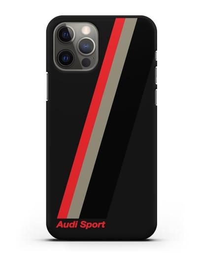 Чехол с логотипом Ауди Спорт силикон черный для iPhone 12 Pro
