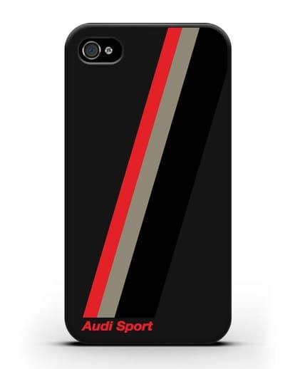 Чехол с логотипом Ауди Спорт силикон черный для iPhone 4/4s