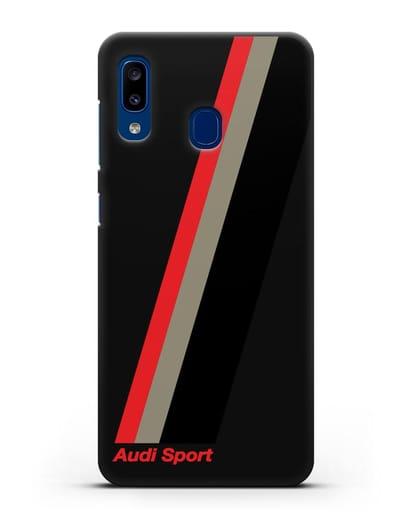 Чехол с логотипом Ауди Спорт силикон черный для Samsung Galaxy A20 [SM-A205FN]