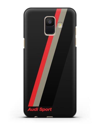 Чехол с логотипом Ауди Спорт силикон черный для Samsung Galaxy A6 2018 [SM-A600F]