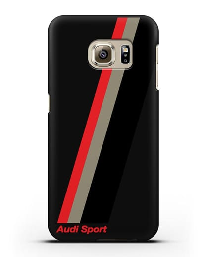 Чехол с логотипом Ауди Спорт силикон черный для Samsung Galaxy S6 Edge [SM-G925F]