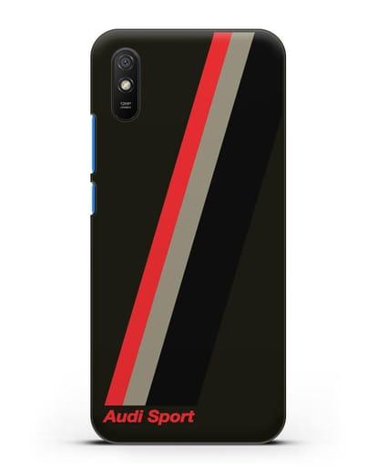 Чехол с логотипом Ауди Спорт силикон черный для Xiaomi Redmi 9A