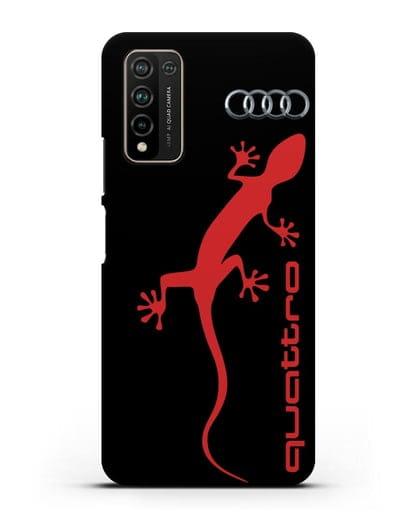 Чехол с логотипом Audi Quattro силикон черный для Honor 10X Lite
