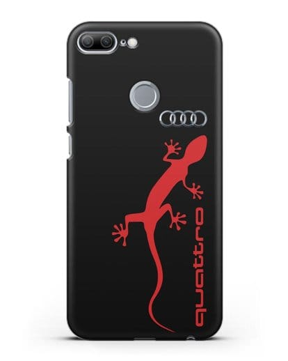 Чехол с логотипом Audi Quattro силикон черный для Honor 9 Lite