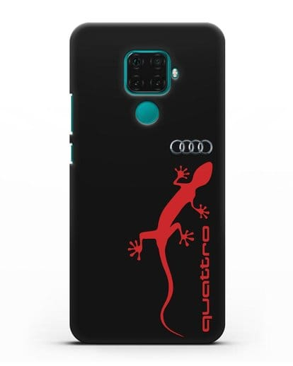 Чехол с логотипом Audi Quattro силикон черный для Huawei Mate 30 Lite