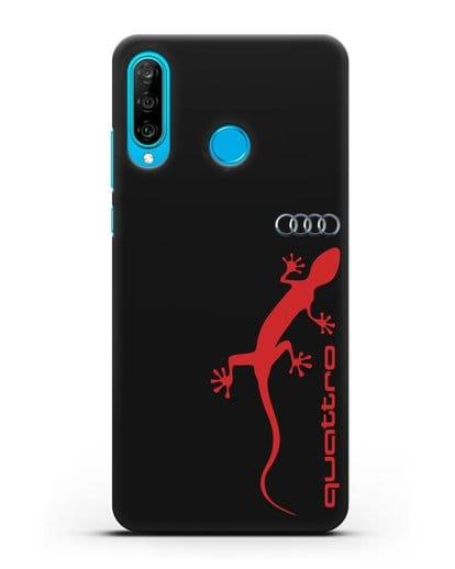 Чехол с логотипом Audi Quattro силикон черный для Huawei P30 Lite