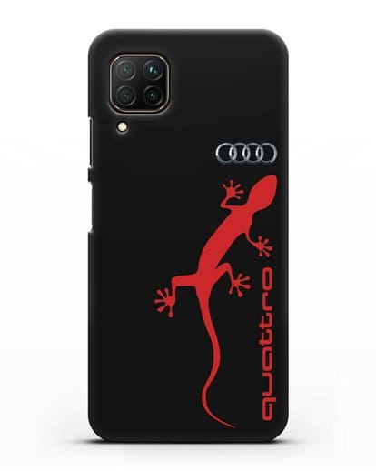 Чехол с логотипом Audi Quattro силикон черный для Huawei P40 lite