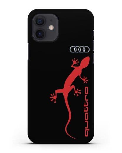 Чехол с логотипом Audi Quattro силикон черный для iPhone 12