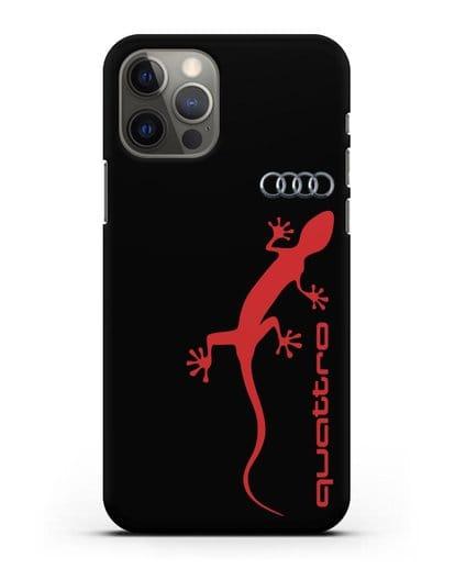 Чехол с логотипом Audi Quattro силикон черный для iPhone 12 Pro