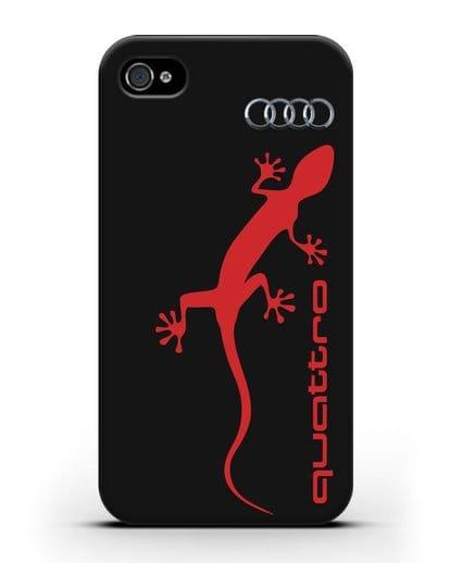 Чехол с логотипом Audi Quattro силикон черный для iPhone 4/4s
