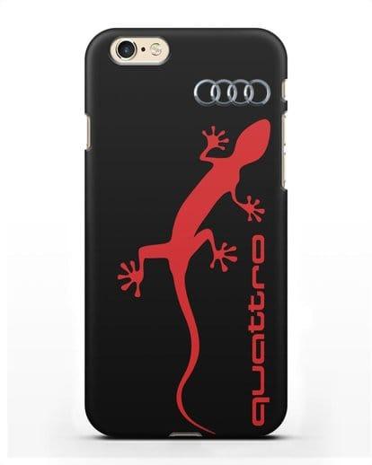Чехол с логотипом Audi Quattro силикон черный для iPhone 6