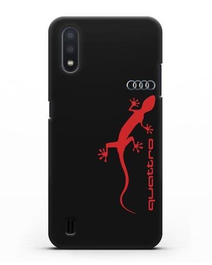 Чехол с логотипом Audi Quattro силикон черный для Samsung Galaxy A01 [SM-A015F]