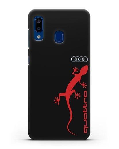 Чехол с логотипом Audi Quattro силикон черный для Samsung Galaxy A20 [SM-A205FN]