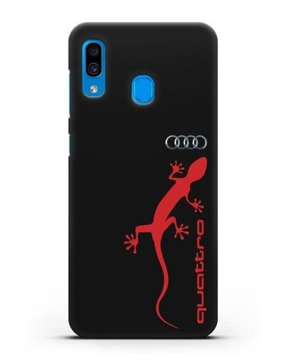 Чехол с логотипом Audi Quattro силикон черный для Samsung Galaxy A30 [SM-A305FN]