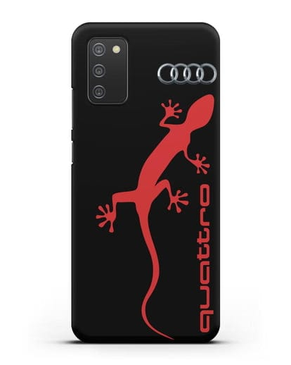 Чехол с логотипом Audi Quattro силикон черный для Samsung Galaxy A02s [SM-A025F]