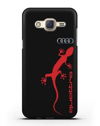 Чехол с логотипом Audi Quattro силикон черный для Samsung Galaxy J7 2015 [SM-J700H]