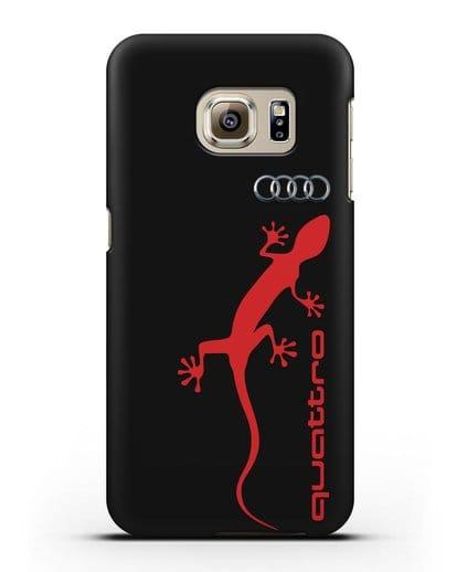 Чехол с логотипом Audi Quattro силикон черный для Samsung Galaxy S6 Edge [SM-G925F]