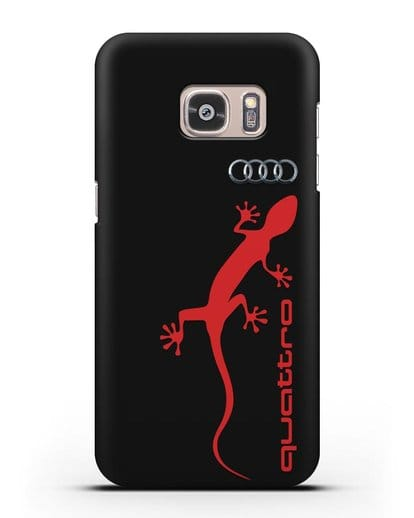 Чехол с логотипом Audi Quattro силикон черный для Samsung Galaxy S7 Edge [SM-G935F]