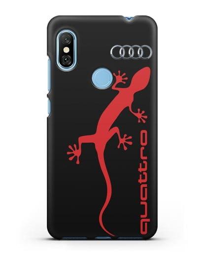 Чехол с логотипом Audi Quattro силикон черный для Xiaomi Redmi Note 6 Pro
