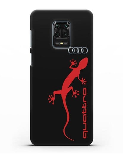 Чехол с логотипом Audi Quattro силикон черный для Xiaomi Redmi Note 9 Pro