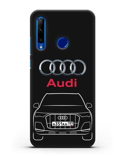 Чехол Audi Q7 с номерным знаком силикон черный для Honor 10i